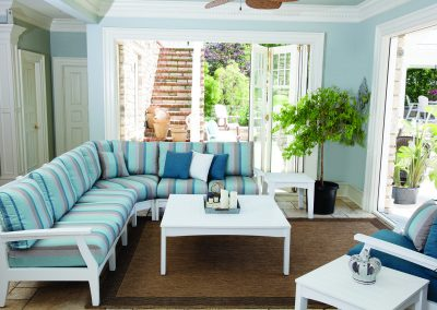 Classic Terrace Sectional - White with Gateway Mist Cushions