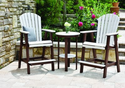 Comfo Back Bar Chair and Round End Table Bar Height - Seashell on Chocolate Brown (1)